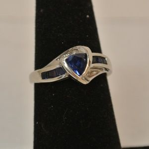 10K White Gold Sapphire and Diamond Ring Size 7.5